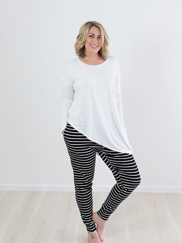 Tamzin Trackies ~ Black & White Stripe
