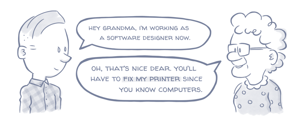 "What your relatives actually think when you say ""Software Designer"""