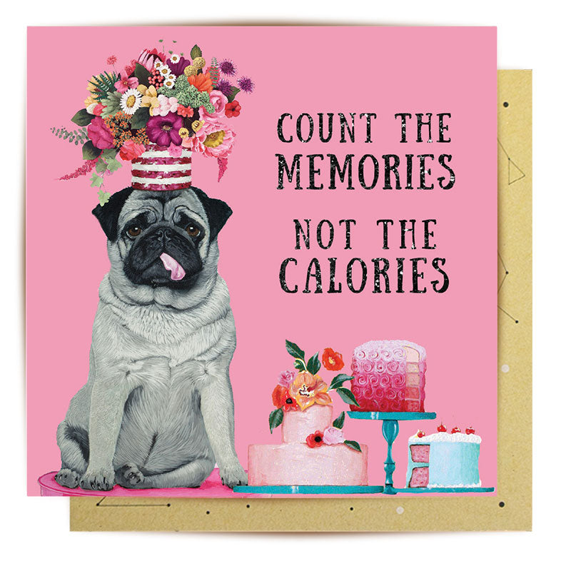 Calorie Counter Pug Greeting Card - la la land Love Iluka | Bohemian Fashion | Boho Style | Spell