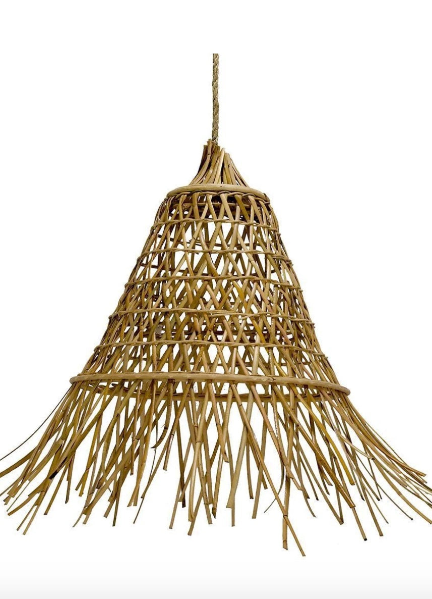 Cone Shaped Rattan Pendant Small