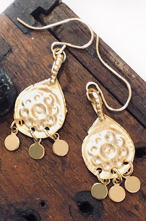Gold Charm Daisy Drop Earrings - paird Love Iluka | Bohemian Fashion | Boho Style | Spell