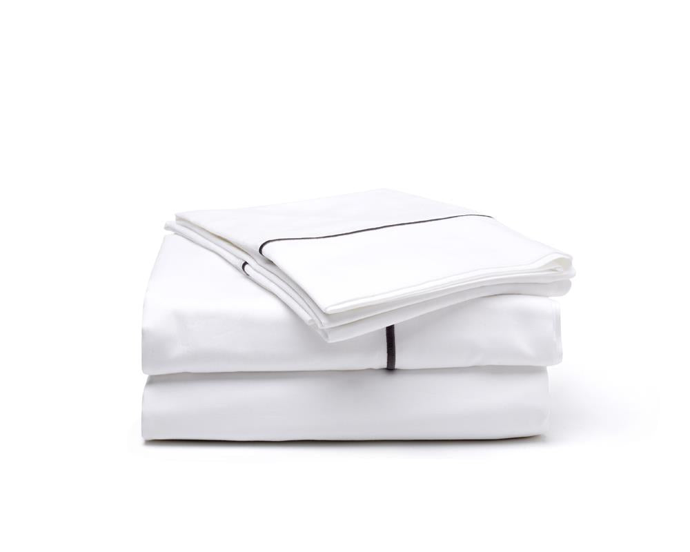 Satin Hem Sheet Set - Grey Stitch on White - JEFFERSON LANE