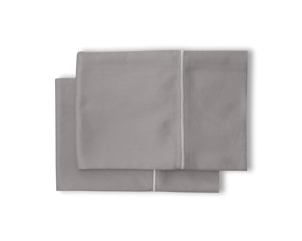 Satin Hem Pillowcases - Cloud Grey - JEFFERSON LANE