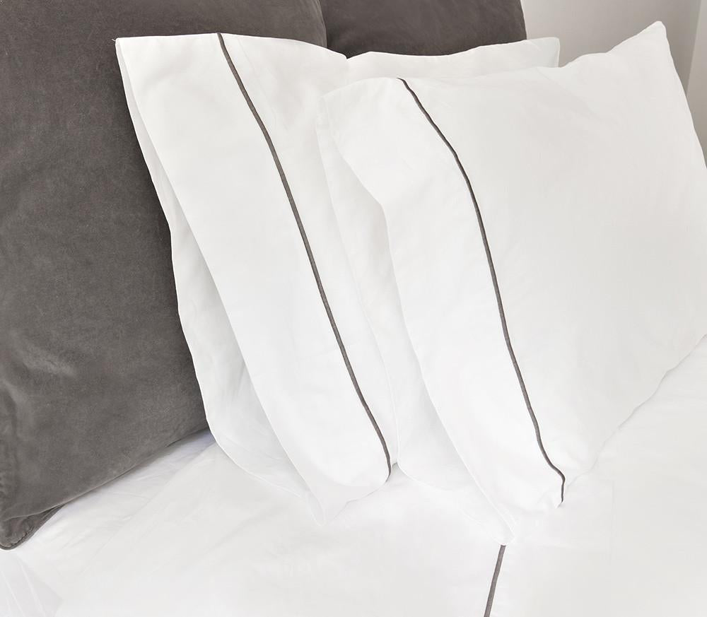 Satin Hem Pillowcases - Pure White - JEFFERSON LANE