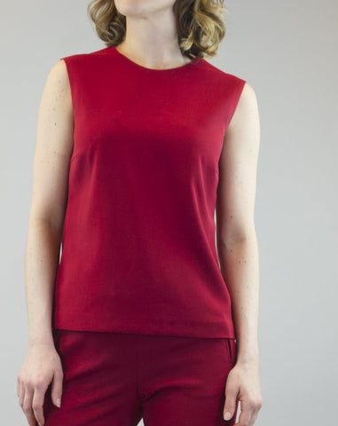 Top Celine in dark red crepe