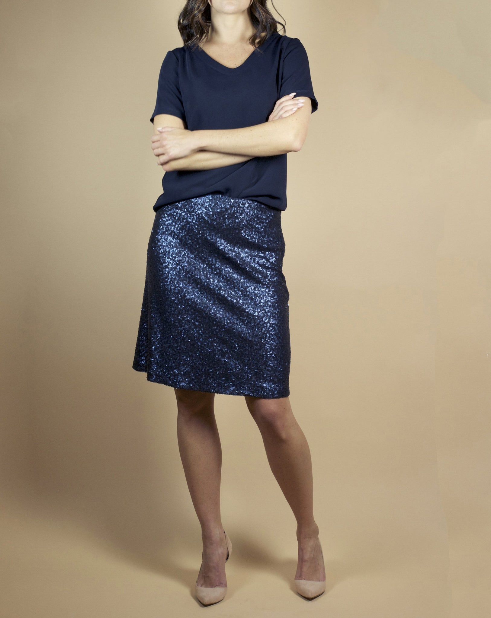 Skirt Jackie in midnight sequins