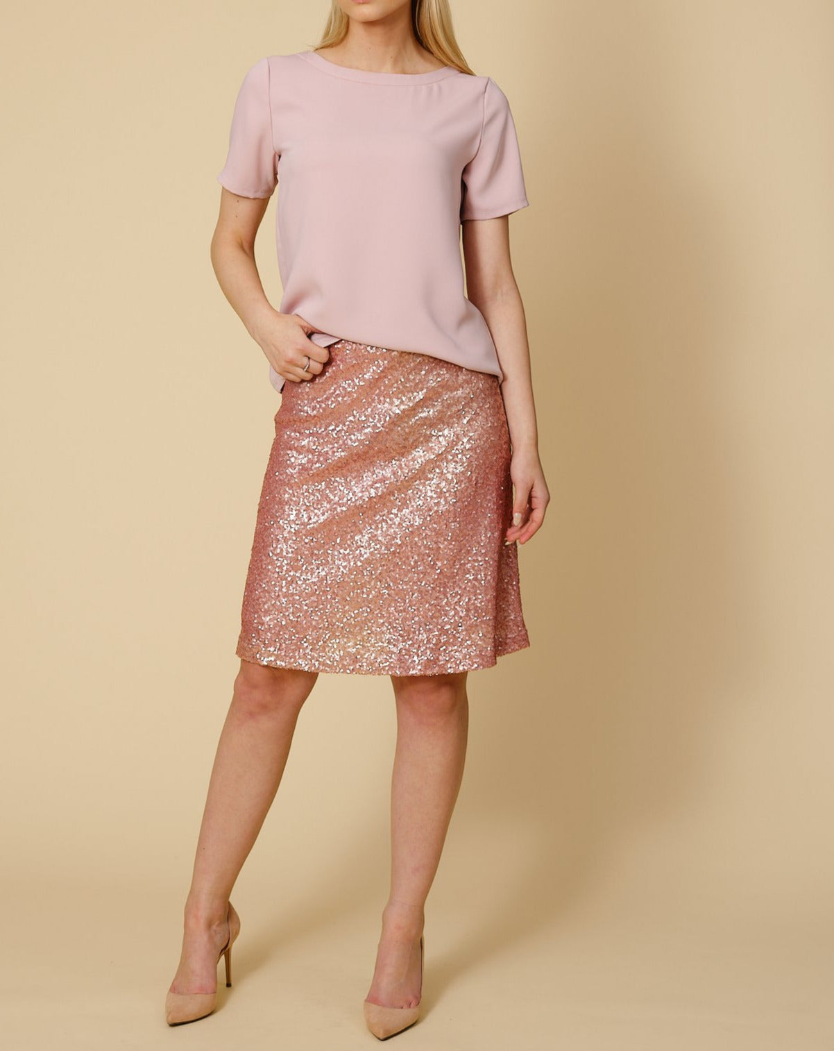 Skirt Jackie in pink sequins