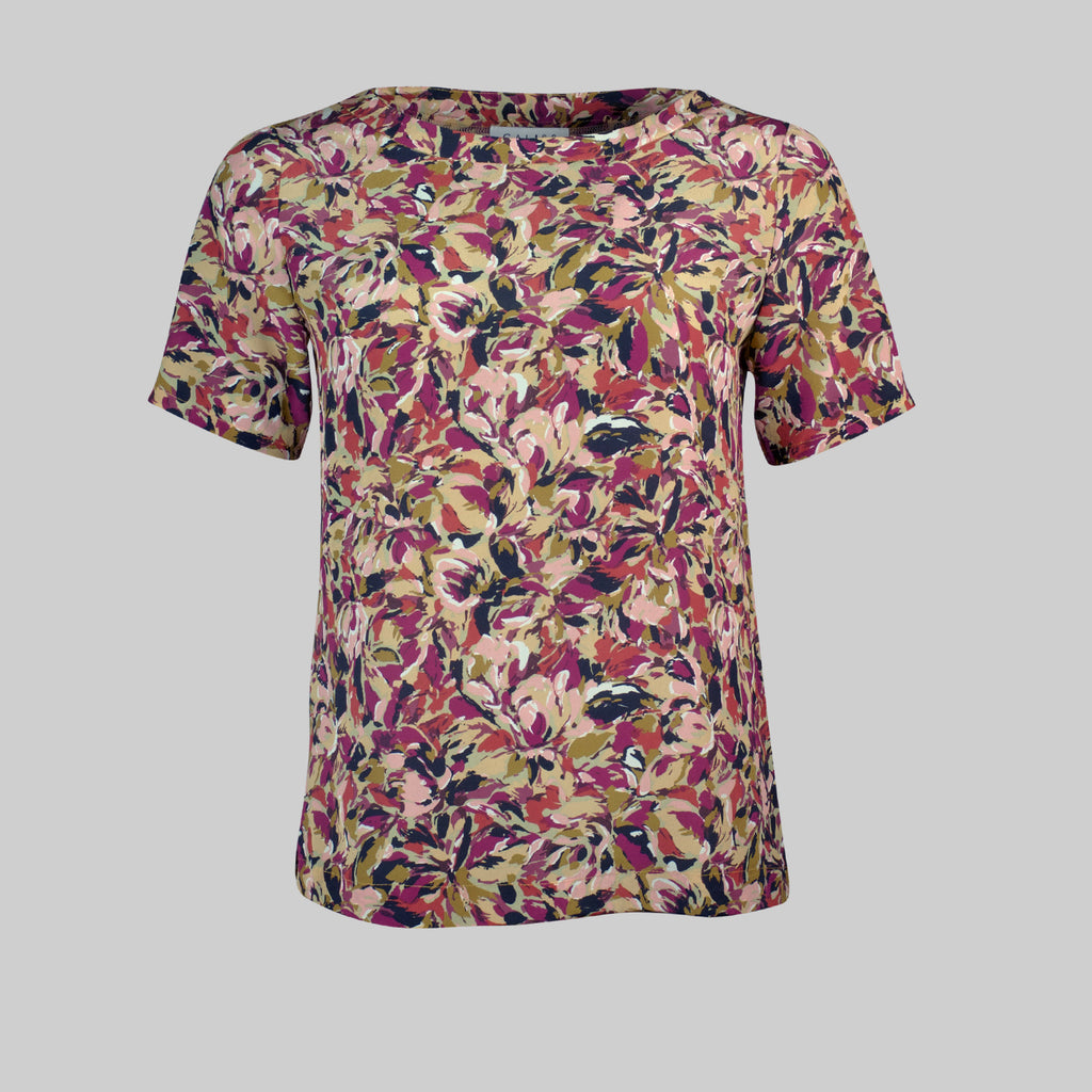 Top Liza new in magenta silk print