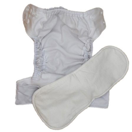 (Seconds) Newborn Nappy - White Shell Only - Minnie & Mae