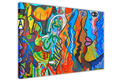 Colourful Abstract Faces Re-printed on Framed Canvas Wall Art Prints Home Decoration Pictures Room Deco Photo-3D
