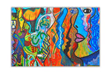 Colourful Abstract Faces Re-printed on Framed Canvas Wall Art Prints Home Decoration Pictures Room Deco Photo-Front