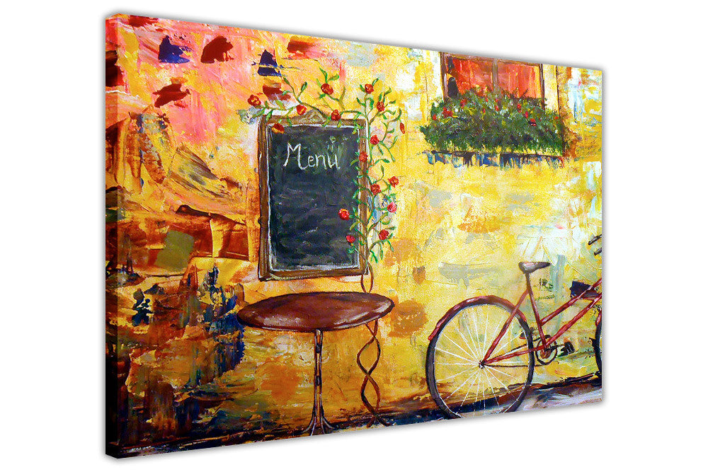 Idyllic Cafe and Bicycle Oil Painting Re-printed on Framed Canvas ...