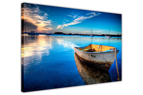 Blue sky and dinky boat on framed canvas wall art prints landscape Pictures Home Decoration Room Deco-3D