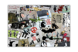 Banksy Cream Collage on Framed Canvas Wall Art Prints Home Decoration Pictures