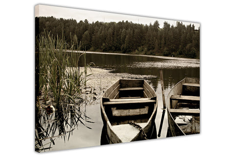 Dinky boats on lake Framed Canvas Wall Art Prints Room Deco Poster Photo Landscape Pictures Home Decoration Artwork-3D