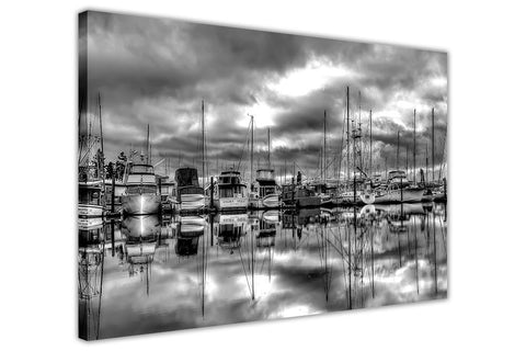 Black and White Fishing Port on framed canvas wall art prints landscape Pictures Home Decoration Room Deco-3D