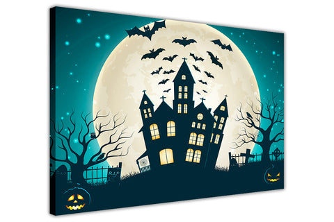 Halloween Castle and Full Moon on Framed Canvas Wall Art Prints Floral Pictures Home Decoration Room Deco Poster Photo Artwork-3D