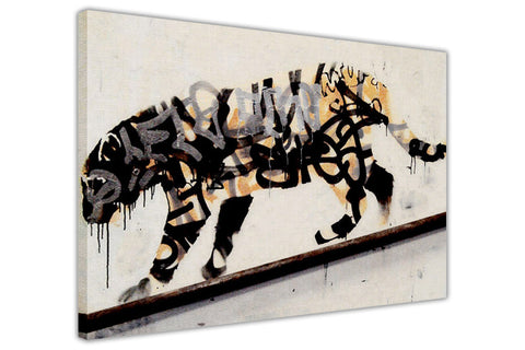 Banksy Tiger Spray Framed Canvas Prints Wall Art Pictures Room Decoration