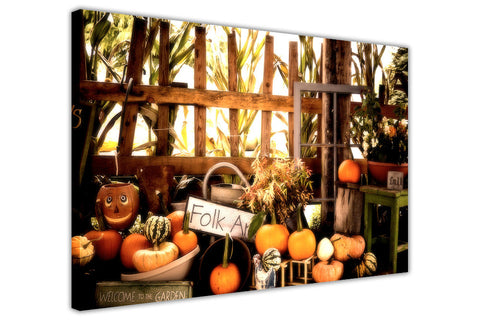 Halloween Pumpkin Garden on Framed Canvas Wall Art Prints Floral Pictures Home Decoration Room Deco Poster Photo Artwork-3D
