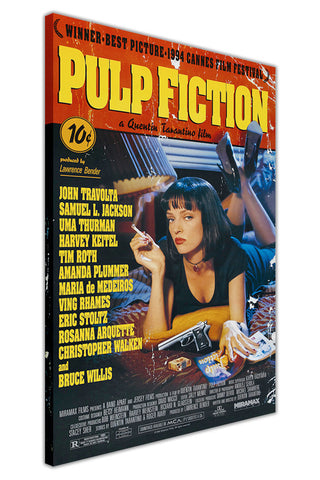 Pulp Fiction Movie Poster on Framed Canvas Wall Art Prints Floral Pictures Home Decoration Room Deco Poster Photo Artwork-3D