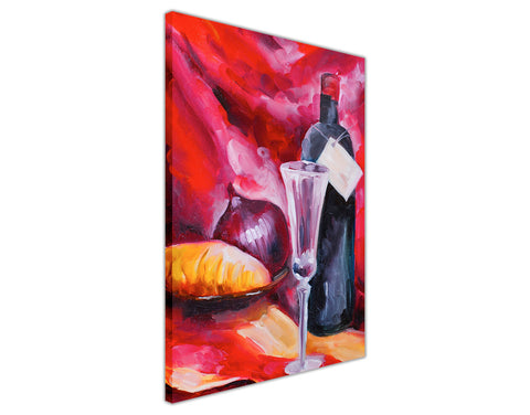 Wine and Bottle Oil Painting Re-printed on Framed Canvas Wall Art Prints Home Decoration Pictures Room Deco Photo-3D