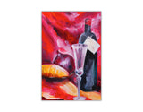 Wine and Bottle Oil Painting Re-printed on Framed Canvas Wall Art Prints Home Decoration Pictures Room Deco Photo-Front