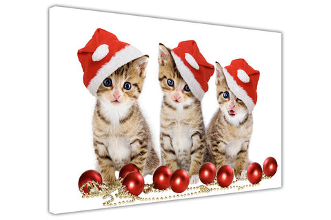 Cute Christmas Kittens on Framed Canvas Wall Art Prints Floral Pictures Home Decoration Room Deco Poster Photo Artwork-3D