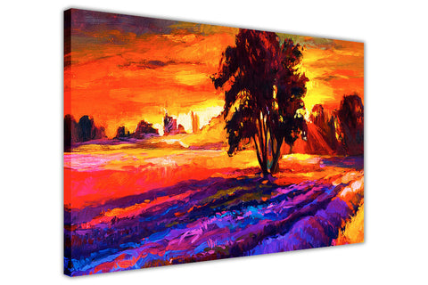 Sunset Over Trees Oil Painting Re-printed on Framed Canvas Wall Art Prints Home Decoration Pictures Room Deco Photo-3D