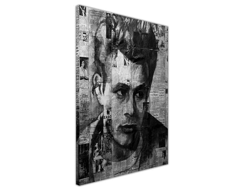Black and White Newspaper Montage of James Dean on Framed Canvas Wall Art Prints Pictures Celebrity Images Famous People-3D