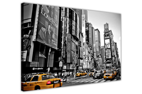 Black and White New York Times Square with Yellow Taxis on Framed Canvas Wall Art Prints Pictures City Images Landmarks-3D
