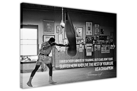 Black and White Muhammad Ali Champion Quote on Framed Canvas Wall Art Prints Pictures Celebrity Images Famous People-3D