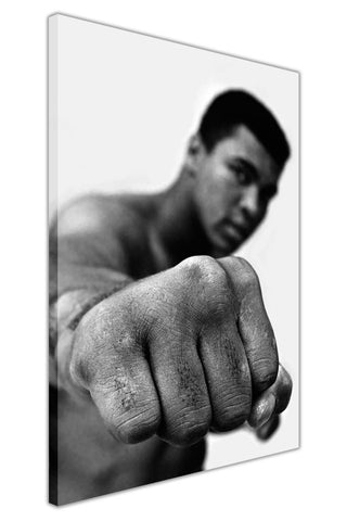 Black and White Muhammad Ali With Fist Pose on Framed Canvas Wall Art Prints Pictures Celebrity Images Famous People-3D