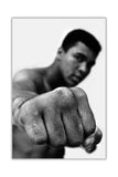 Black and White Muhammad Ali With Fist Pose on Framed Canvas Wall Art Prints Pictures Celebrity Images Famous People-FRONT
