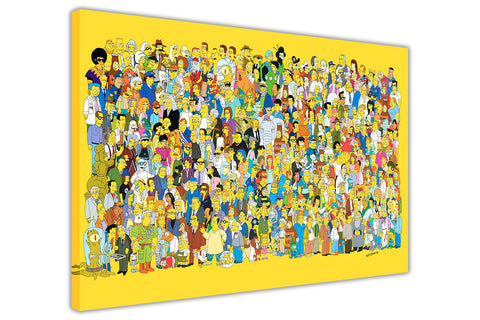 The Simpsons Cast on Framed Canvas Wall Art Prints Movie Pictures TV photos Home Decoration Room Deco Posters-3D