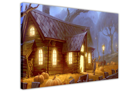 Halloween Trick or Treat Creepy House on Framed Canvas Wall Art Prints Floral Pictures Home Decoration Room Deco Poster Photo Artwork-3D