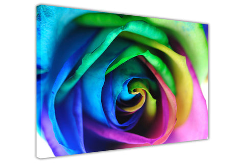 Rainbow Rose Flower on Framed Canvas Wall Art Prints Floral Pictures Home Decoration Room Deco Poster Photo Artwork-3D