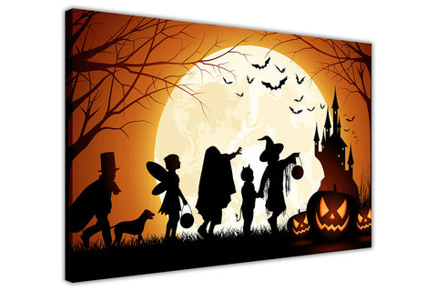 Halloween Trick or Treat Kids on Framed Canvas Wall Art Prints Floral Pictures Home Decoration Room Deco Poster Photo Artwork-3D