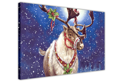 Christmas Reindeer on Framed Canvas Wall Art Prints Floral Pictures Home Decoration Room Deco Poster Photo Artwork-3D