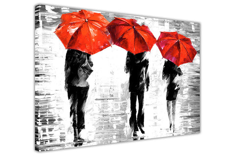 Beautiful Black and White painting with red Umbrellas By Leonid Afremov Oil Painting Re-printed on Framed Canvas Wall Art Prints Home Decoration Pictures Room Deco Photo-3D