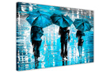 Blue Landscape oil painting of umbrellas with a variety of colours By Leonid Afremov Oil Painting Re-printed on Framed Canvas Wall Art Prints Home Decoration Pictures Room Deco Photo-3D