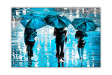 Blue Landscape oil painting of umbrellas with a variety of colours By Leonid Afremov Oil Painting Re-printed on Framed Canvas Wall Art Prints Home Decoration Pictures Room Deco Photo-Front