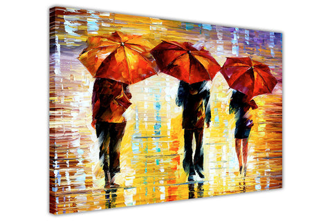 Colourful Landscape oil painting of umbrellas with a variety of colours By Leonid Afremov Oil Painting Re-printed on Framed Canvas Wall Art Prints Home Decoration Pictures Room Deco Photo-3D