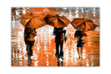 Orange Landscape oil painting of umbrellas with a variety of colours By Leonid Afremov Oil Painting Re-printed on Framed Canvas Wall Art Prints Home Decoration Pictures Room Deco Photo-Front