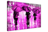 Purple Landscape oil painting of umbrellas with a variety of colours By Leonid Afremov Oil Painting Re-printed on Framed Canvas Wall Art Prints Home Decoration Pictures Room Deco Photo-3D