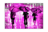 Purple Landscape oil painting of umbrellas with a variety of colours By Leonid Afremov Oil Painting Re-printed on Framed Canvas Wall Art Prints Home Decoration Pictures Room Deco Photo-Front