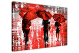 Red Landscape oil painting of umbrellas with a variety of colours By Leonid Afremov Oil Painting Re-printed on Framed Canvas Wall Art Prints Home Decoration Pictures Room Deco Photo-3D