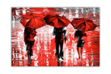 Red Landscape oil painting of umbrellas with a variety of colours By Leonid Afremov Oil Painting Re-printed on Framed Canvas Wall Art Prints Home Decoration Pictures Room Deco Photo-Front