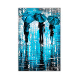 Blue Portrait oil painting of umbrellas with a variety of colours By Leonid Afremov Oil Painting Re-printed on Framed Canvas Wall Art Prints Home Decoration Pictures Room Deco Photo-Front