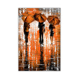 Orange Portrait oil painting of umbrellas with a variety of colours By Leonid Afremov Oil Painting Re-printed on Framed Canvas Wall Art Prints Home Decoration Pictures Room Deco Photo-Front