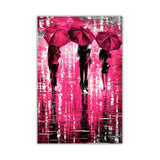 Pink Portrait oil painting of umbrellas with a variety of colours By Leonid Afremov Oil Painting Re-printed on Framed Canvas Wall Art Prints Home Decoration Pictures Room Deco Photo-FRONT